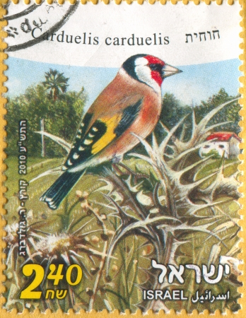 ISRAEL - CIRCA 2010: stamp printed by Israel, shows European Goldfinch, circa 2010