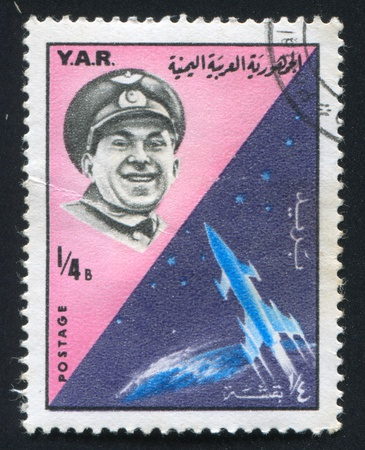 astronautics: YEMEN - CIRCA 1965: stamp printed by Yemen, shows Pavel Beljaev and rocket, circa 1965 Editorial