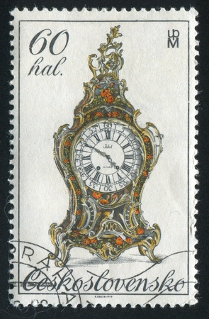 CZECHOSLOVAKIA - CIRCA 1979: stamp printed by Czechoslovakia, shows 18th century clock, circa 1979 Stock Photo - 21008028