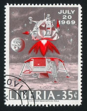 astronautics: LIBERIA - CIRCA 1969: stamp printed by Liberia, shows Takeoff from Moon, circa 1969 Editorial