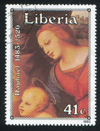 LIBERIA - CIRCA 1983: stamp printed by Liberia, shows Holy family by Raphael, circa 1983
