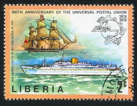 upu: LIBERIA - CIRCA 1974: stamp printed by Liberia, shows Ships Thomas Coutts and Aureal, circa 1974 Editorial