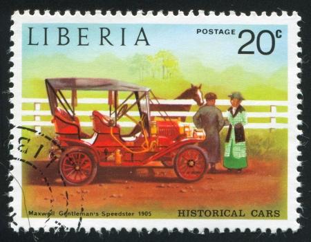 maxwell: LIBERIA - CIRCA 1973: stamp printed by Liberia, shows Maxwell gentelmans speedster, circa 1973