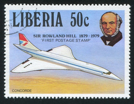 postmaster: LIBERIA - CIRCA 1979: stamp printed by Liberia, shows Rowland Hill and concorde, circa 1979 Editorial
