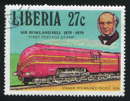 postmaster: LIBERIA - CIRCA 1979: stamp printed by Liberia, shows Rowland Hill and Stainer pacific train, circa 1979