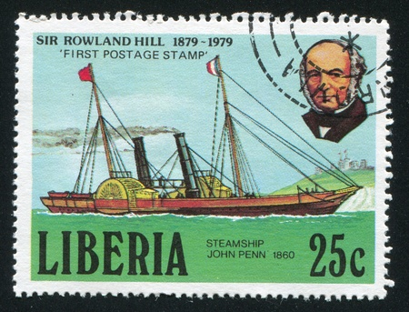 postmaster: LIBERIA - CIRCA 1979: stamp printed by Liberia, shows Rowland Hill and mail steamship John Penn, circa 1979