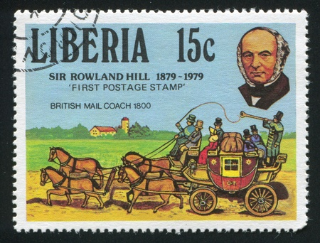 postmaster: LIBERIA - CIRCA 1979: stamp printed by Liberia, shows Rowland Hill and British mail coach, circa 1979