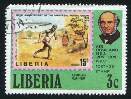postmaster: LIBERIA - CIRCA 1979: stamp printed by Liberia, shows Rowland Hill, mail runner and jet, circa 1979