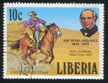 postmaster: LIBERIA - CIRCA 1979: stamp printed by Liberia, shows Rowland Hill and Pony express rider, circa 1979