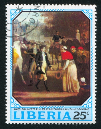 pius: LIBERIA - CIRCA 1970: stamp printed by Liberia, shows Napoleon meets Pope Pius VII by Jean Louis Demarne, circa 1970