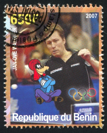 BENIN - CIRCA 2007: stamp printed by Benin, shows Jan-Ove Waldner, Disney Caharacter and Olympic Rings, circa 2007