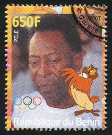 senior olympics: BENIN - CIRCA 2007: stamp printed by Benin, shows Pele, Disney Caharacter and Olympic Rings, circa 2007