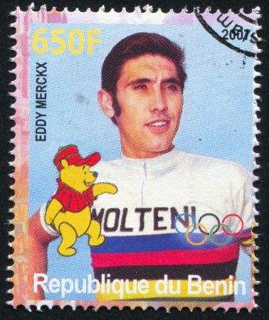 eddy: BENIN - CIRCA 2007: stamp printed by Benin, shows Eddy Merckx, Disney Caharacter and Olympic Rings, circa 2007 Editorial