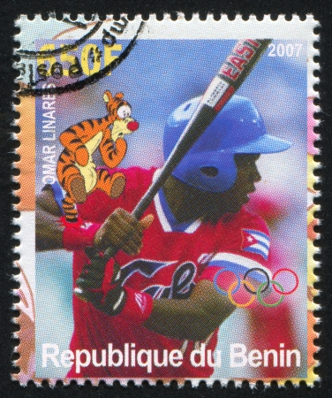 BENIN - CIRCA 2007: stamp printed by Benin, shows Omar Linares, Disney Caharacter and Olympic Rings, circa 2007