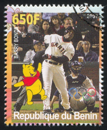 BENIN - CIRCA 2007: stamp printed by Benin, shows Barry Bonds, Disney Caharacter and Olympic Rings, circa 2007