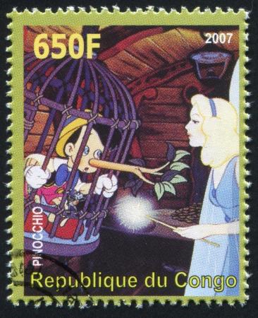 collodi: CONGO - CIRCA 2007: stamp printed by Congo, shows Pinocchio, circa 2007