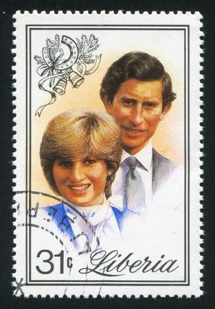 royal wedding: LIBERIA - CIRCA 1981: stamp printed by Liberia, shows Royal wedding, circa 1981 Editorial