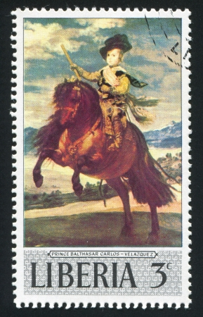 balthasar: LIBERIA - CIRCA 1969: stamp printed by Liberia, shows Prince Balthasar Carlos on horseback by Diego Velasquez, circa 1969 Editorial