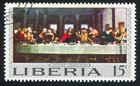 santa cena: LIBERIA - CIRCA 1969: sello impreso por Liberia, muestra la Última Cena de Leonardo da Vinci, alrededor del año 1969