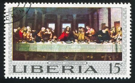 last supper: LIBERIA - CIRCA 1969: stamp printed by Liberia, shows The last supper by Leonardo da Vinci, circa 1969