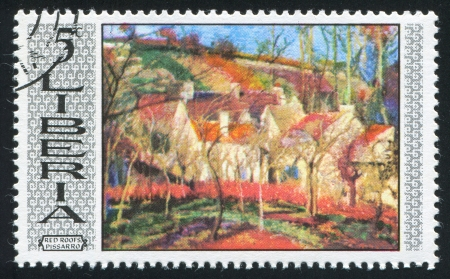 LIBERIA - CIRCA 1969: stamp printed by Liberia, shows Red roofs by Camille Pissarro, circa 1969
