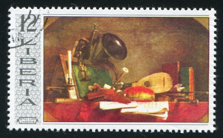 LIBERIA - CIRCA 1969: stamp printed by Liberia, shows Still Life by Jean Baptiste Chardin, circa 1969 Stock Photo - 21333736