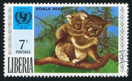 unicef: LIBERIA - CIRCA 1971: timbro stampato dalla Liberia, mostra UNICEF emblema e koala, circa 1971 Editoriali