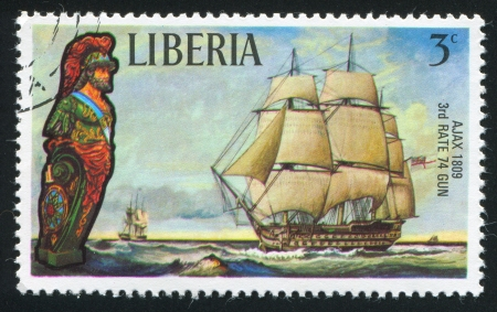 ajax: LIBERIA - CIRCA 1972: stamp printed by Liberia, shows Figurehead and sailing ship Ajax, circa 1972 Editorial