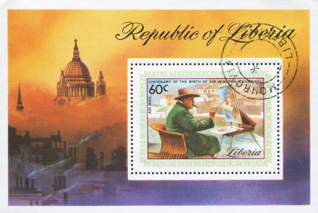 winston: LIBERIA - CIRCA 1975: stamp printed by Liberia, shows Winston  Churchill at easel painting landscape, circa 1975
