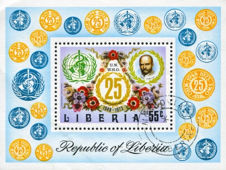 boffin: LIBERIA - CIRCA 1973: stamp printed by Liberia, shows WHO Emblem, Paul Ehrlich and poppy anemones, circa 1973