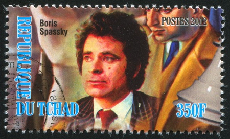 spassky: CHAD - CIRCA 2012: stamp printed by Chad, shows Boris Spassky, circa 2012