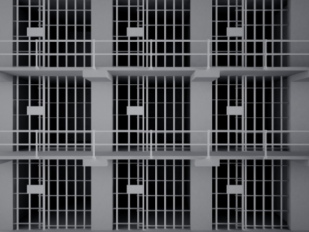 pokey: The view from the inside of a brick jail cell with iron bars