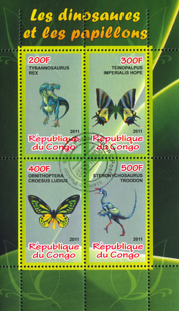hindwing: CONGO - CIRCA 2011: stamp printed by Congo, shows butterfly and dinosaur, circa 2011
