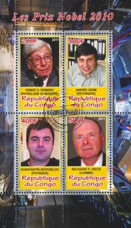 physiologist: CONGO - CIRCA 2011: stamp printed by Congo, shows famous people, circa 2011