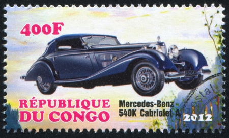 numberplate: CONGO - CIRCA 2012: stamp printed by Congo, shows Mercedes Benz, circa 2012