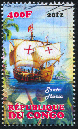 CONGO - CIRCA 2012: stamp printed by Congo, shows ship, circa 2012