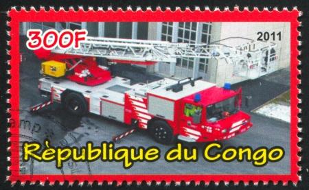 window seal: CONGO - CIRCA 2012: stamp printed by Congo, shows Fire truck, circa 2012