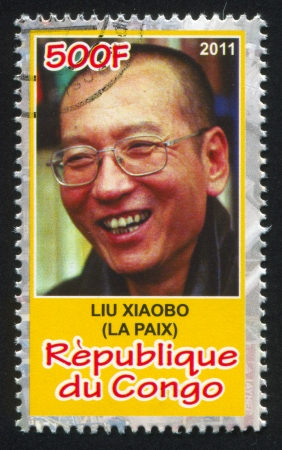 liu: CONGO - CIRCA 2011: stamp printed by Congo, shows Liu Xiaobo, circa 2011