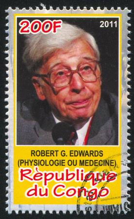 CONGO - CIRCA 2011: stamp printed by Congo, shows Robert Edwards, circa 2011
