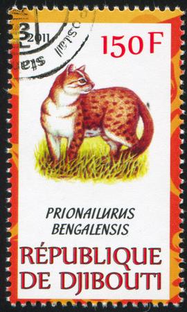 prionailurus: DJIBOUTI - CIRCA 2011: stamp printed by Djibouti, shows Leopard cat, circa 2011
