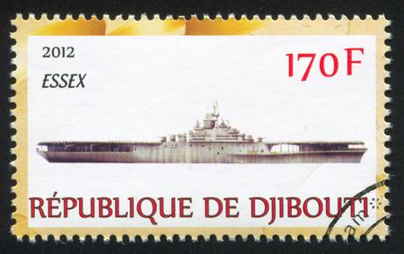 DJIBOUTI - CIRCA 2012: stamp printed by Djibouti, shows battleship, circa 2012