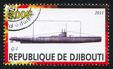DJIBOUTI - CIRCA 2011: stamp printed by Djibouti, shows submarine, circa 2011