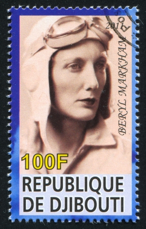 beryl: DJIBOUTI - CIRCA 2011: stamp printed by Djibouti, shows Beryl Markham, circa 2011