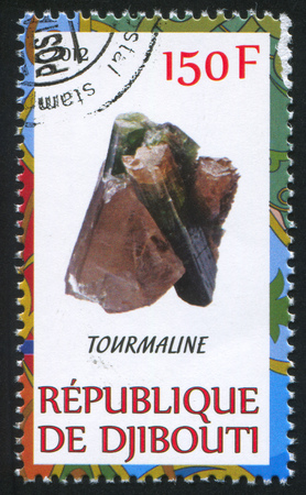 DJIBOUTI - CIRCA 2012: stamp printed by Djibouti, shows Tourmaline, circa 2012 Stock Photo - 22459911
