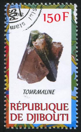 DJIBOUTI - CIRCA 2012: stamp printed by Djibouti, shows Tourmaline, circa 2012 Stock Photo - 22459911