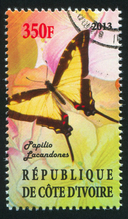 hindwing: IVORY COAST - CIRCA 2013: stamp printed by Ivory Coast, shows Butterfly, circa 2013 Editorial