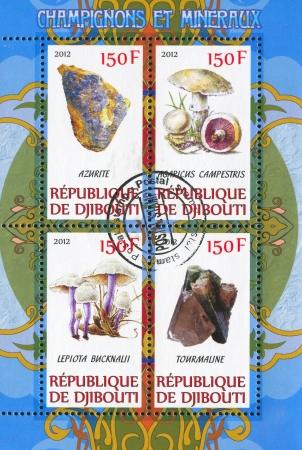 DJIBOUTI - CIRCA 2012: stamp printed by Djibouti, shows mineral and mushroom, circa 2012 Stock Photo - 22825586