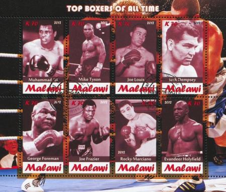 joe louis: Malawi - CIRCA 2012: stamp printed by Malawi, shows great boxers, circa 2012