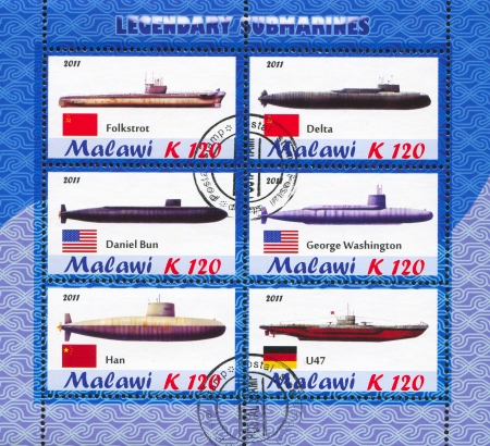 MALAWI - CIRCA 2011: stamp printed by Malawi, shows Submarine, circa 2011