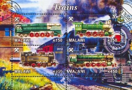 Malawi - CIRCA 2012: stamp printed by Malawi, shows Steam locomotive, circa 2012 Stock Photo - 22888561